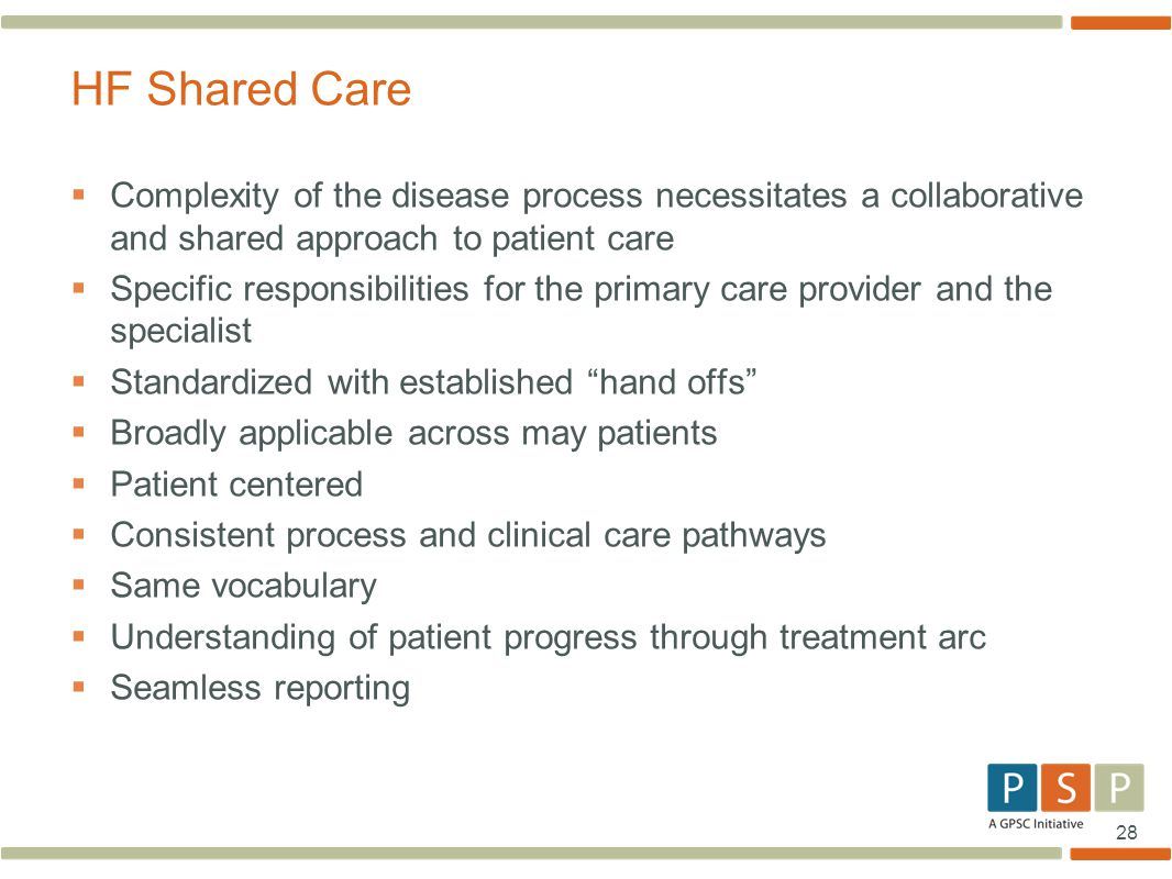 HF Shared Care Complexity of the disease process necessitates a collaborative and shared approach to patient care.