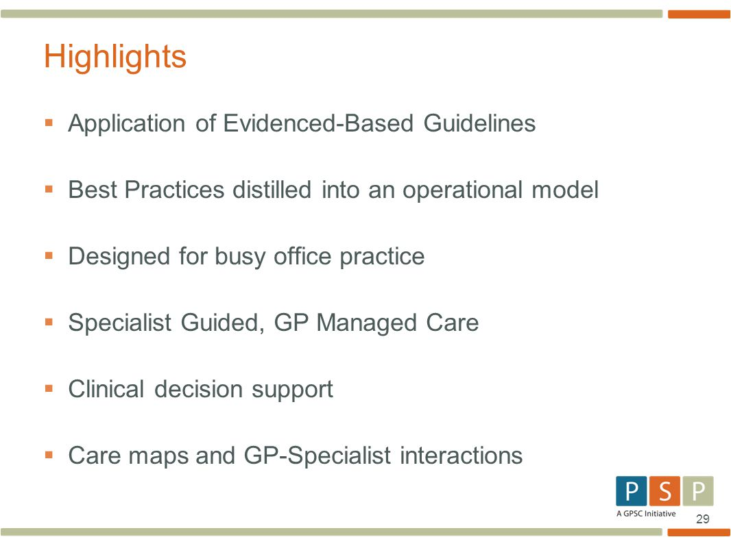 Highlights Application of Evidenced-Based Guidelines