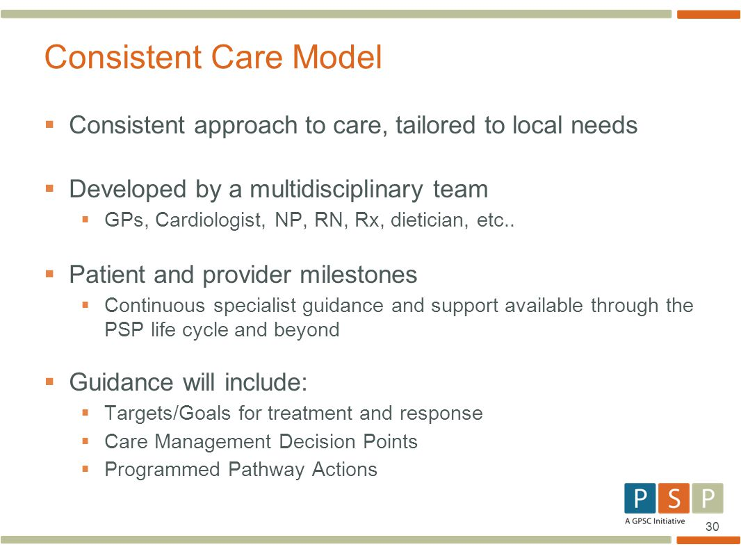 Consistent Care Model Consistent approach to care, tailored to local needs. Developed by a multidisciplinary team.