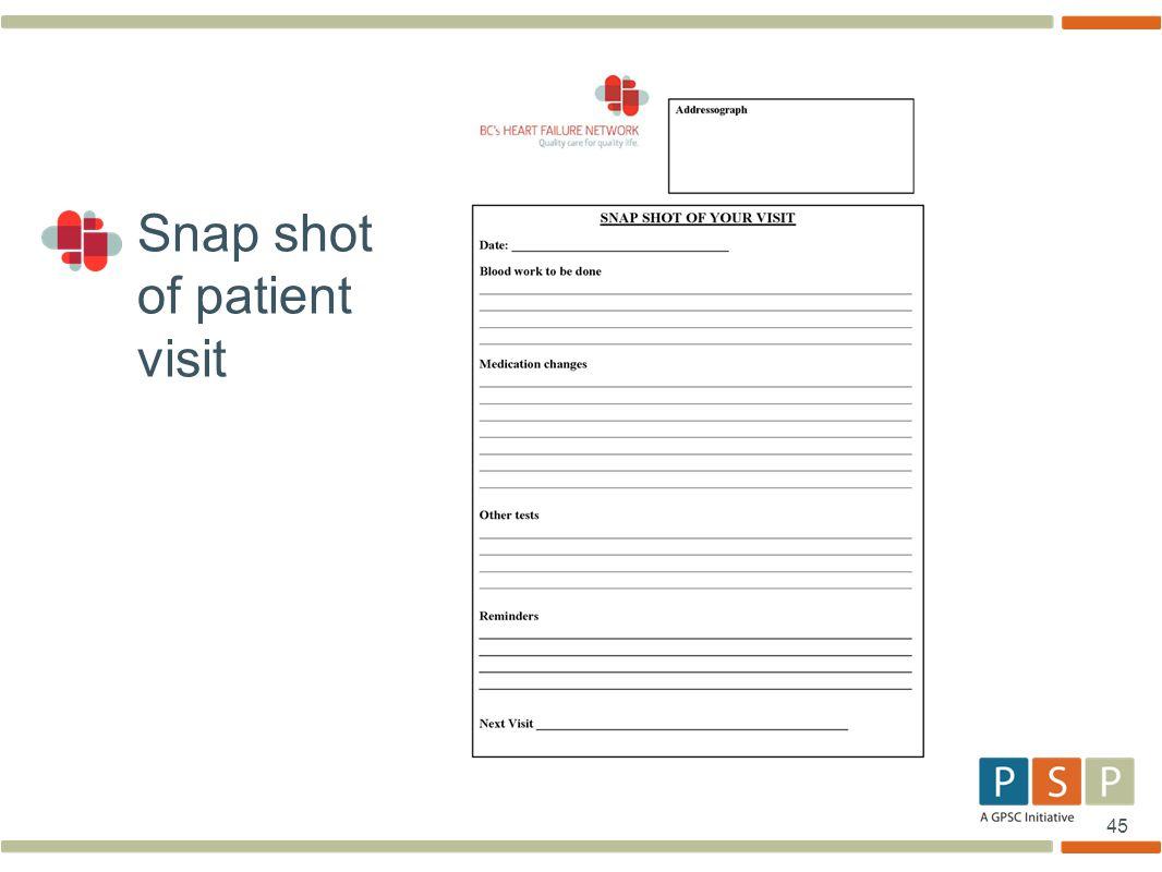 Snap shot of patient visit