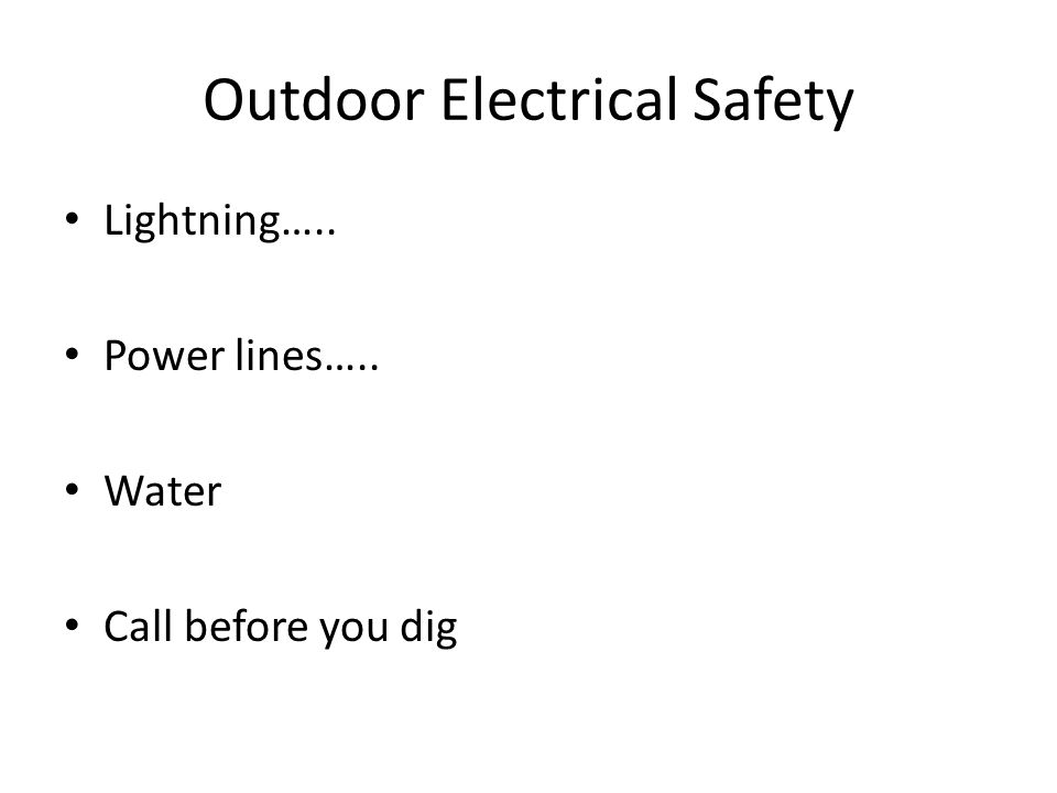 Outdoor Electrical Safety