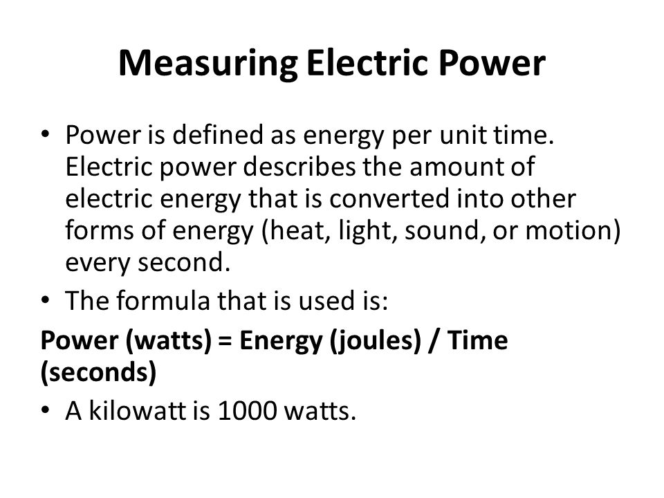 Measuring Electric Power