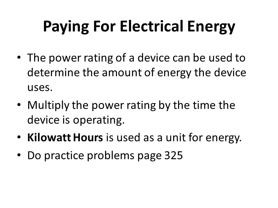 Paying For Electrical Energy