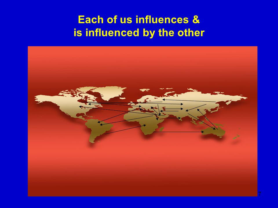 Each of us influences & is influenced by the other
