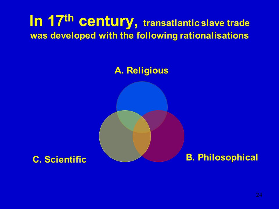 In 17th century, transatlantic slave trade was developed with the following rationalisations