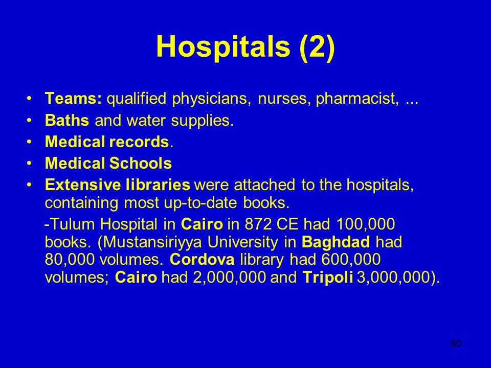 Hospitals (2) Teams: qualified physicians, nurses, pharmacist, ...