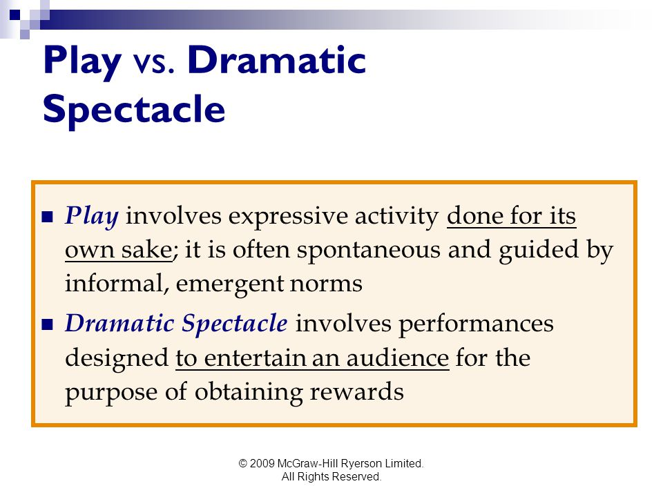 Play vs. Dramatic Spectacle