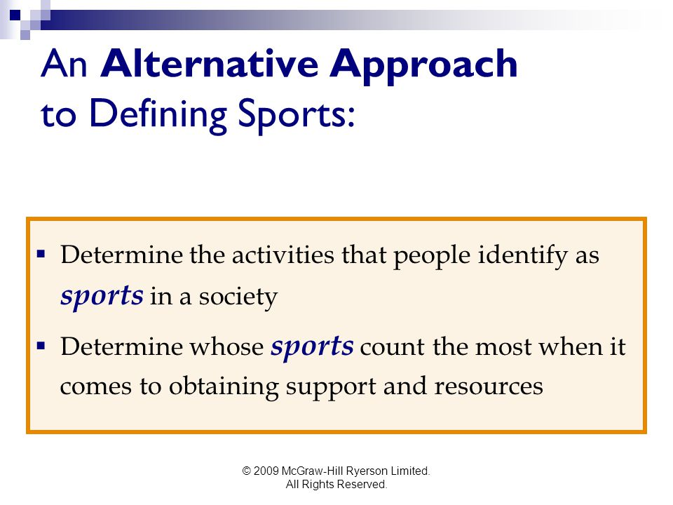 An Alternative Approach to Defining Sports: