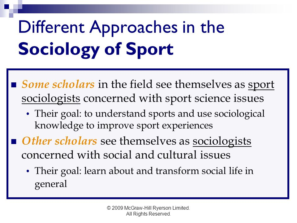 Different Approaches in the Sociology of Sport