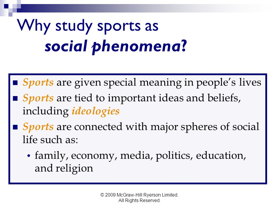 Why study sports as social phenomena