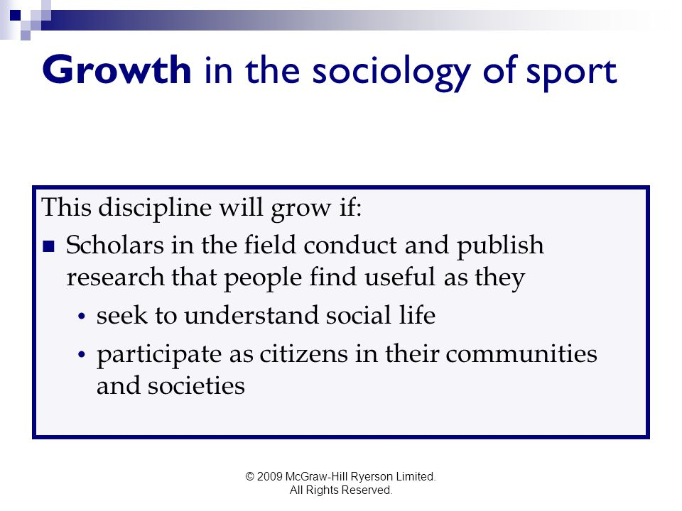 Growth in the sociology of sport