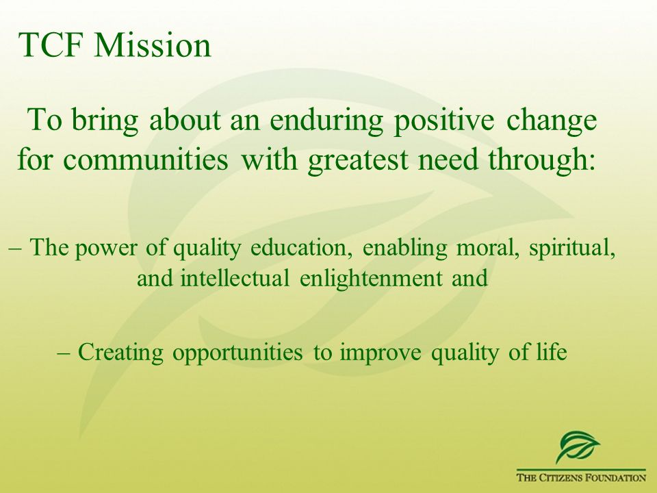 Creating opportunities to improve quality of life