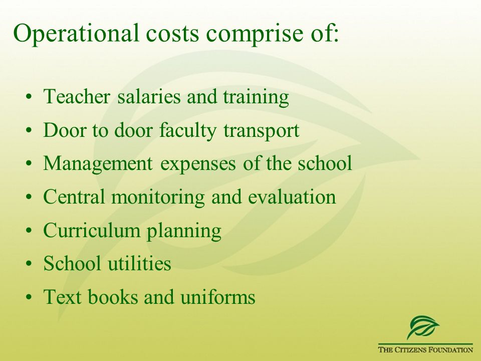 Operational costs comprise of: