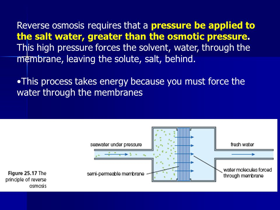 Reverse osmosis requires that a pressure be applied to the salt water, greater than the osmotic pressure. This high pressure forces the solvent, water, through the membrane, leaving the solute, salt, behind.