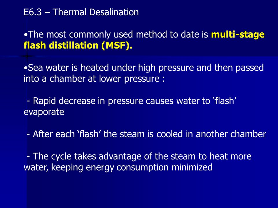 E6.3 – Thermal Desalination