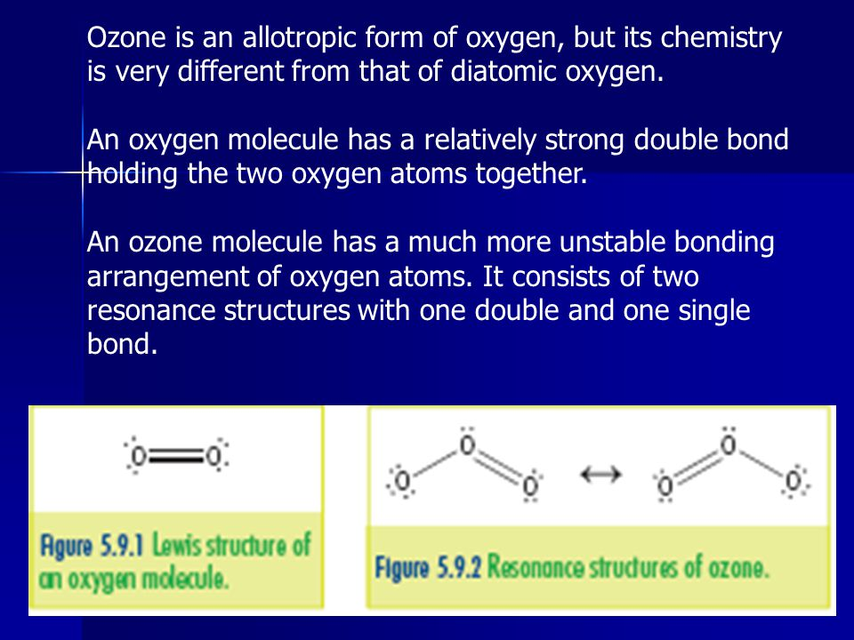 Ozone is an allotropic form of oxygen, but its chemistry is very different from that of diatomic oxygen.