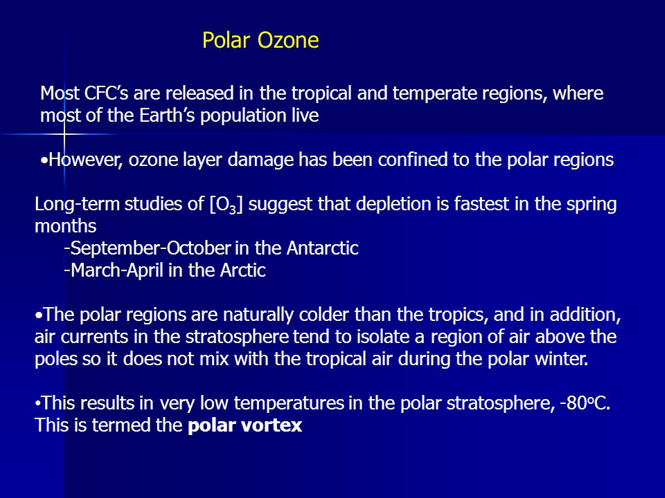 Polar Ozone Most CFC's are released in the tropical and temperate regions, where most of the Earth's population live.