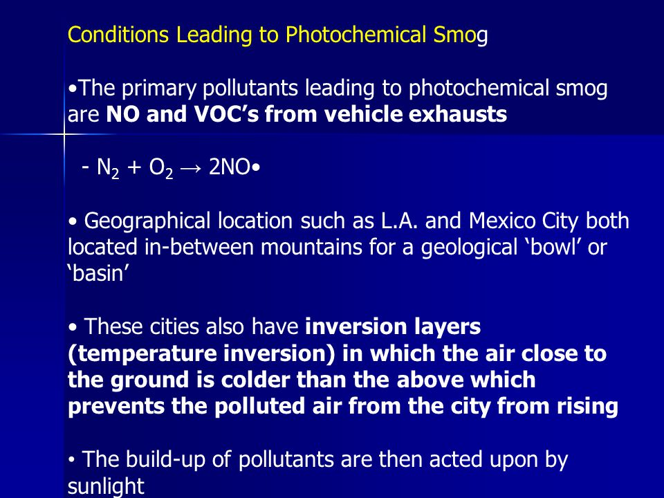 Conditions Leading to Photochemical Smog