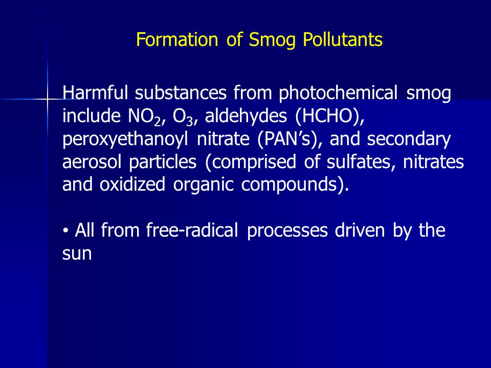 Formation of Smog Pollutants