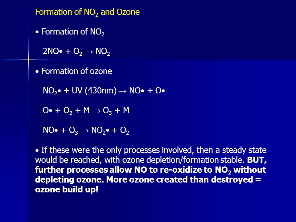 Formation of NO2 and Ozone