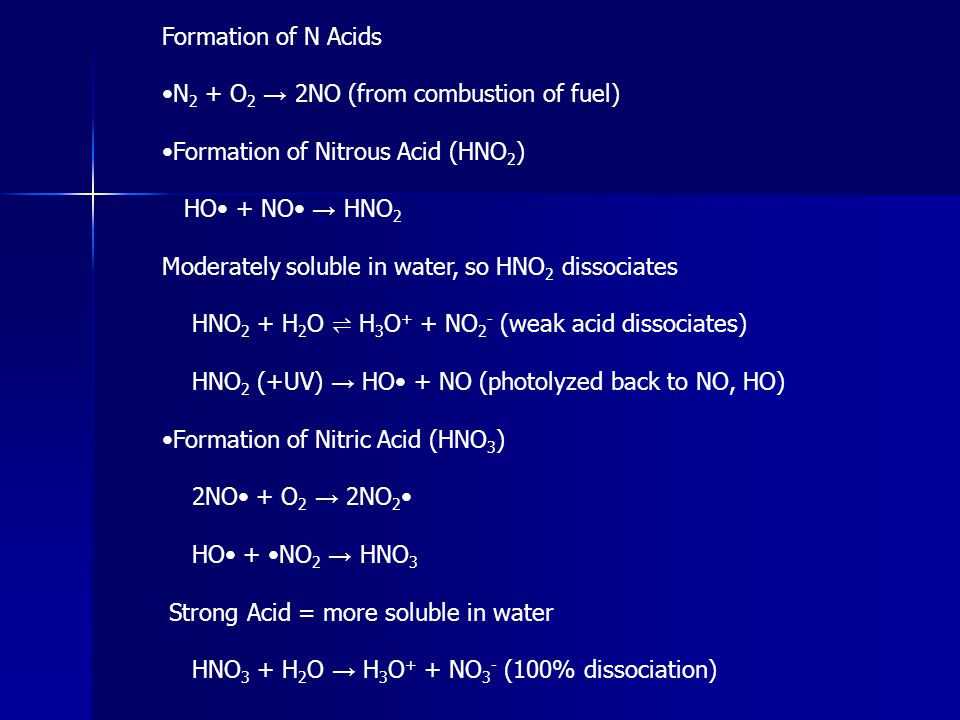 Formation of N Acids •N2 + O2 → 2NO (from combustion of fuel) •Formation of Nitrous Acid (HNO2) HO• + NO• → HNO2.