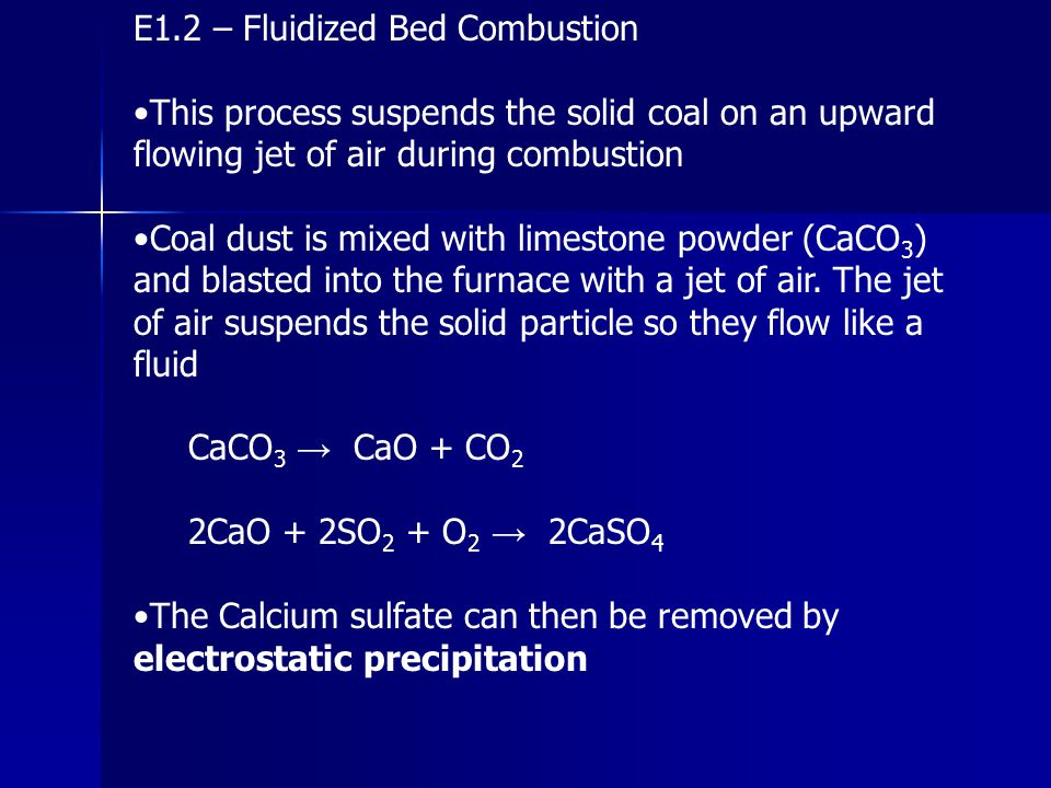 E1.2 – Fluidized Bed Combustion
