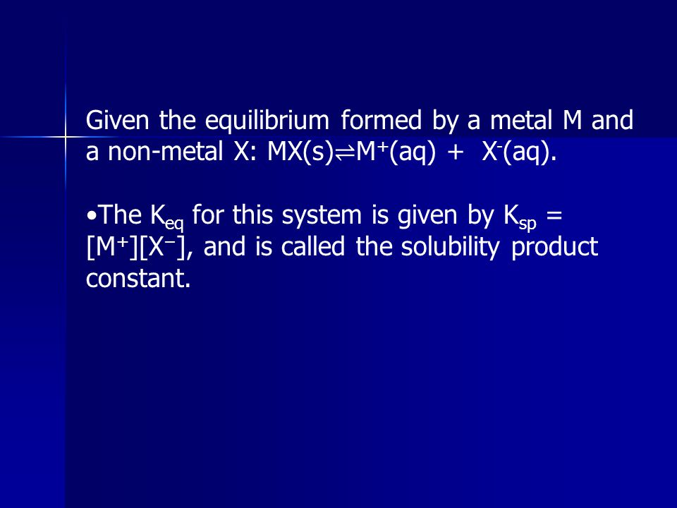 Given the equilibrium formed by a metal M and a non-metal X: MX(s)⇌M+(aq) + X-(aq).