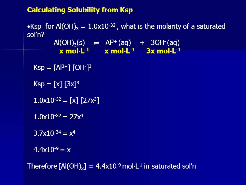 Calculating Solubility from Ksp