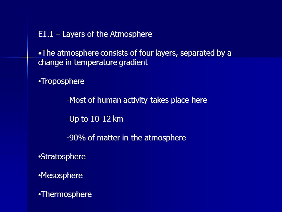 E1.1 – Layers of the Atmosphere