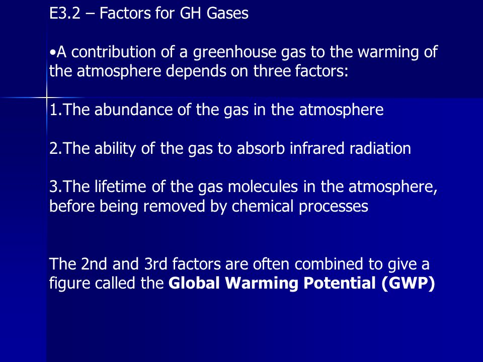E3.2 – Factors for GH Gases •A contribution of a greenhouse gas to the warming of the atmosphere depends on three factors: