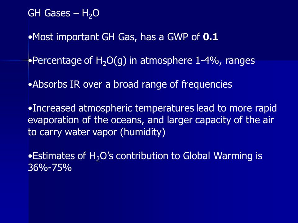 GH Gases – H2O •Most important GH Gas, has a GWP of 0.1. •Percentage of H2O(g) in atmosphere 1-4%, ranges.