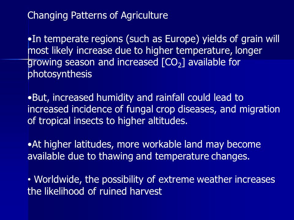 Changing Patterns of Agriculture
