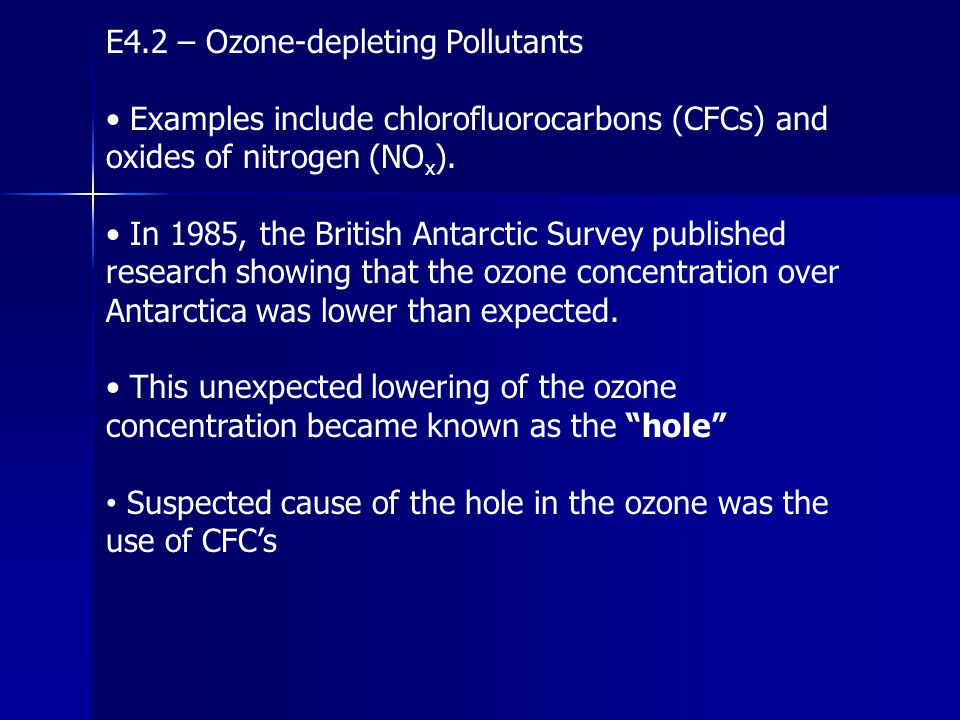 E4.2 – Ozone-depleting Pollutants