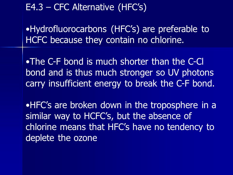 E4.3 – CFC Alternative (HFC's)