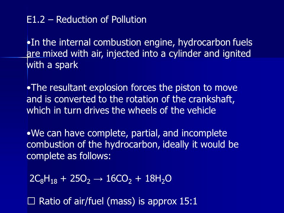 E1.2 – Reduction of Pollution
