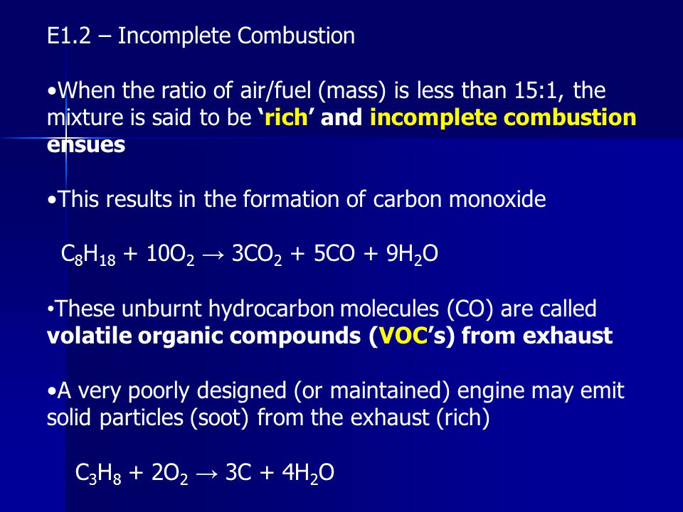 E1.2 – Incomplete Combustion