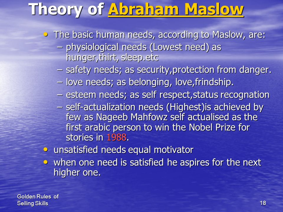 Theory of Abraham Maslow