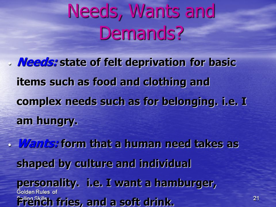 What are Consumer's Needs, Wants and Demands