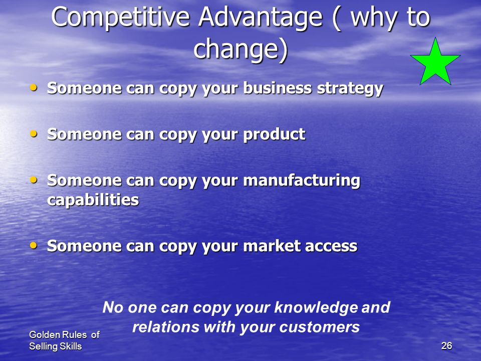 Competitive Advantage ( why to change)
