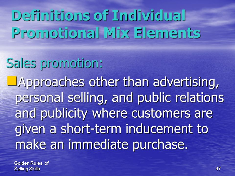 Definitions of Individual Promotional Mix Elements