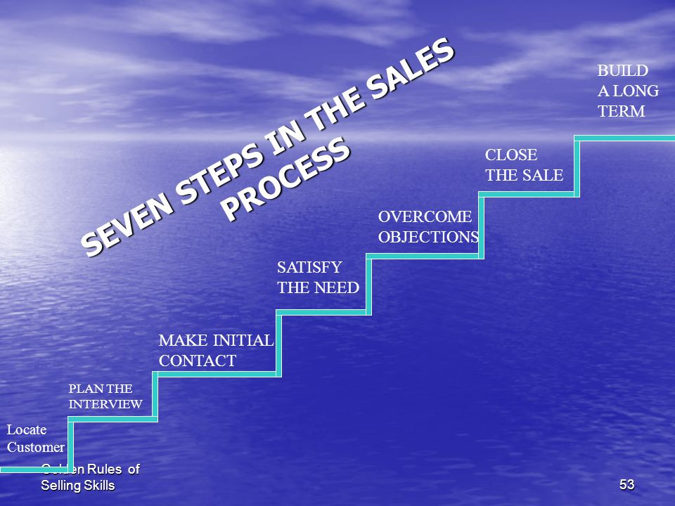 SEVEN STEPS IN THE SALES PROCESS