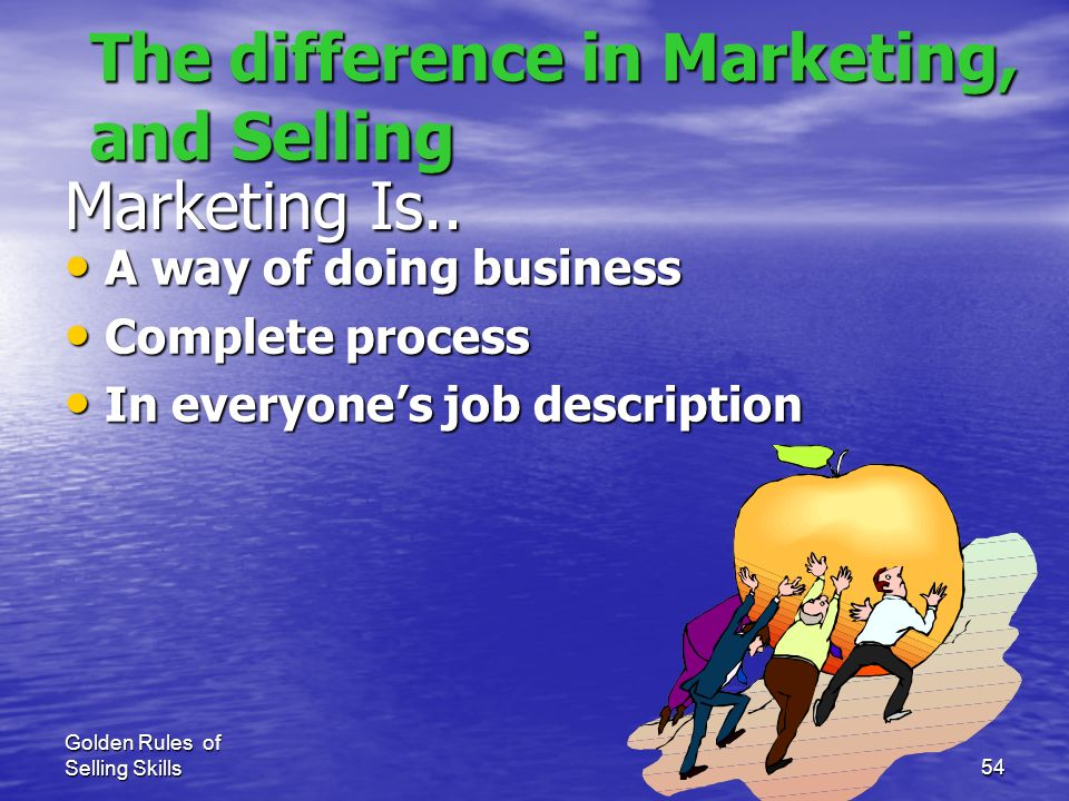 The difference in Marketing, and Selling
