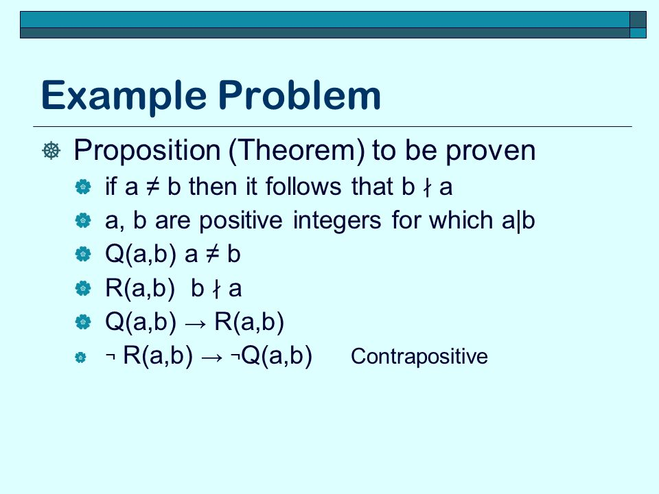 Example Problem Proposition (Theorem) to be proven