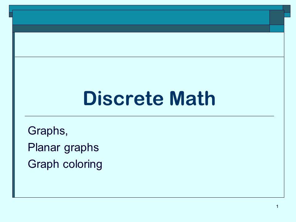 Graphs, Planar graphs Graph coloring