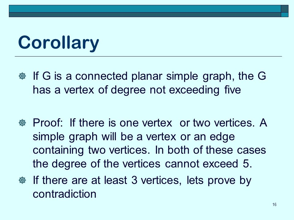 Corollary If G is a connected planar simple graph, the G has a vertex of degree not exceeding five.