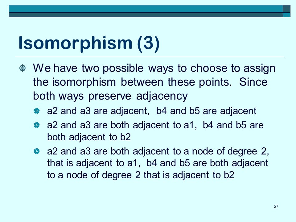 Isomorphism (3) We have two possible ways to choose to assign the isomorphism between these points. Since both ways preserve adjacency.