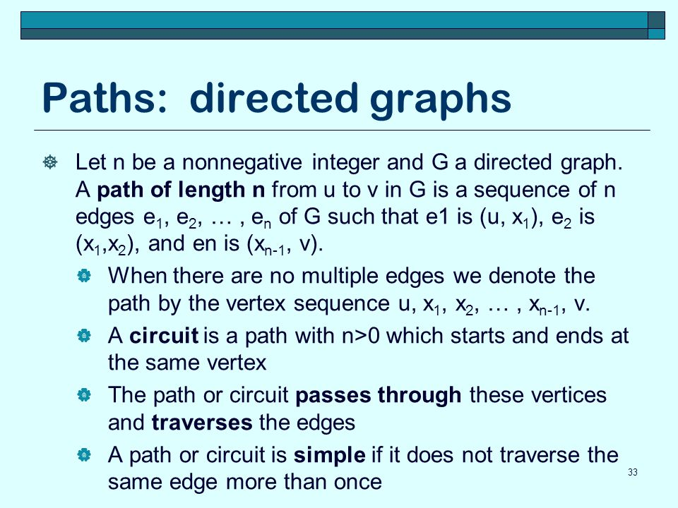 Paths: directed graphs