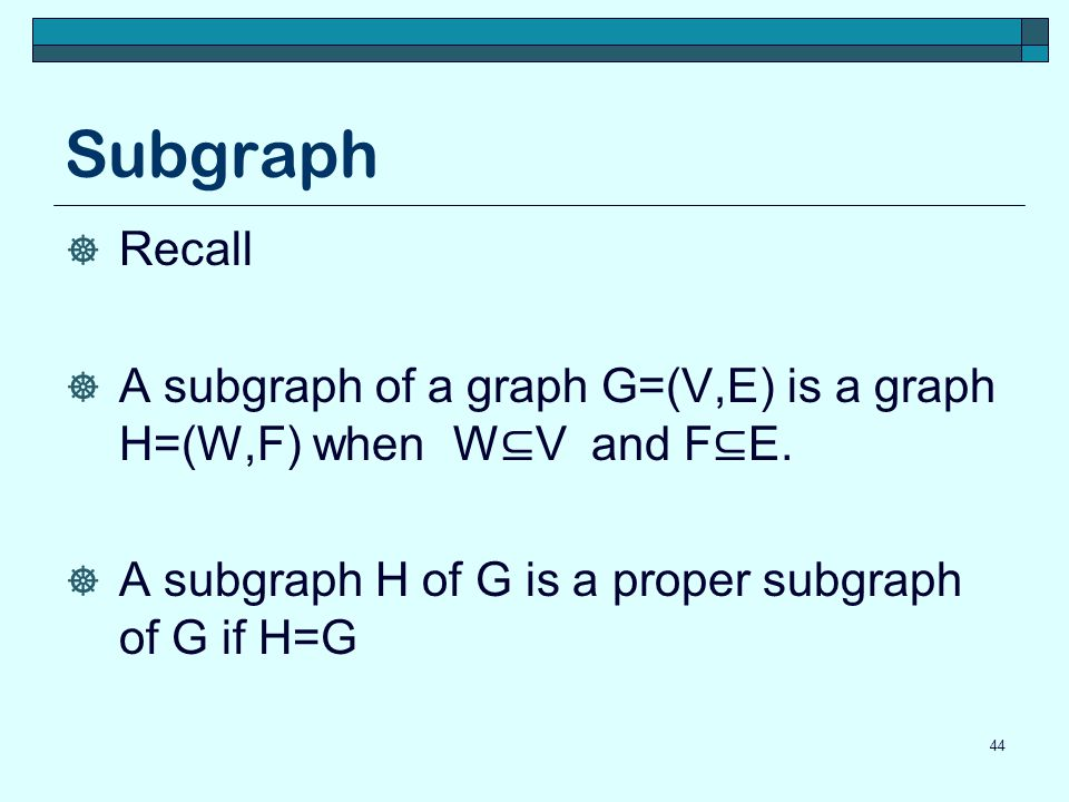 Subgraph Recall. A subgraph of a graph G=(V,E) is a graph H=(W,F) when W⊆V and F⊆E.