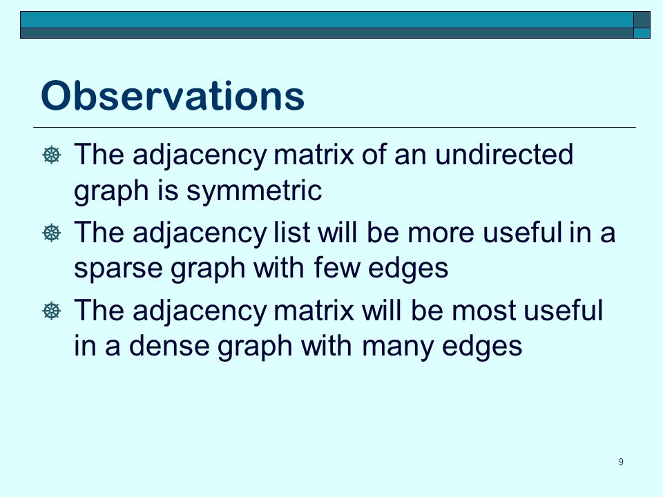 Observations The adjacency matrix of an undirected graph is symmetric