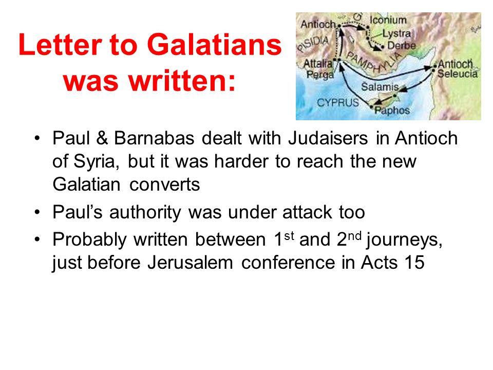 Letter to Galatians was written: